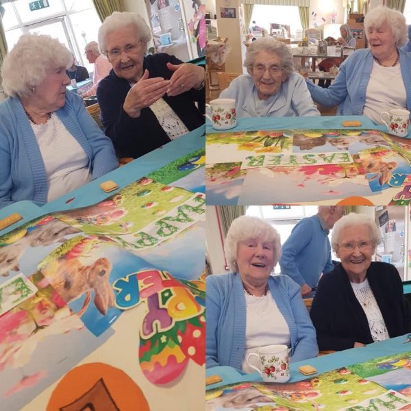 Two older women with white hair are pictured in three different portraits, socialising and playing.
